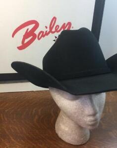 "STETSON Oakridge 3X Felt Stallion 7 1/4"" Cowboy Hat Black 4"" Brim Orig. Hat Box"