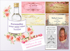 Personalized MINI Wine Bottle Labels Wedding  Birthday House Warming Favors Tags
