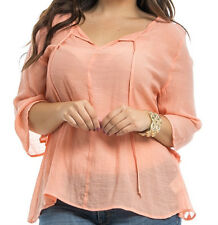 Sexy KNIT LACE BACK Size 2X SHIRT TOP 3/4 Sleeves ORANGE PEACH Womens Plus NEW