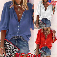 Women's Casual V Neck Long Sleeve Blouse Loose Tops Office Ladies Work Shirt US
