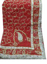 Om 1.4 Kgs Vintage Dupatta Chiffon Bridal Hand Beaded Red Scarves Hijab AD-2162