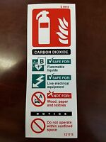 FIRE EXTINGUISER CARBON DIOXIDE SIGN 200mm x 75mm SELF ADHESIVE / STICKY BACKED