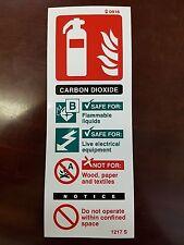 Signo de fuego extinguiser dióxido de carbono 200mm X 75mm Auto Adhesivo/Adhesivo con respaldo
