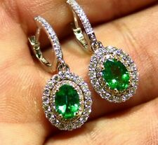 2.44CT 18K Gold Natural Emerald Diamond Drop Halo Engagement Earrings Vintage