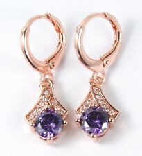 Women's 18 Carat Rose Gold Plated Purple Crystal Huggie Dangle Earrings