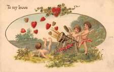 Valetines Greetings Cupid Heart Cannon Antique Postcard J63901