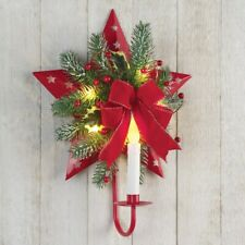 Lighted Christmas Decoration Wreath Wall Candle Battery Operated Country Star