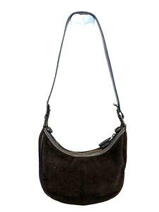 THE SAK Handbag HOBO PURSE SATCHEL Bag BROWN SUEDE Leather FAUX LEATHER MedIUM
