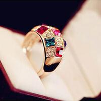 Luxux Damen Frauen bunten Strass-Kristallfinger Dazzling Ring Schmuck E5F3