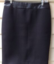 BANANA REPUBLIC Size US 6 AU 10 S Womens Skirt Black Chevron & Faux Leather EUC