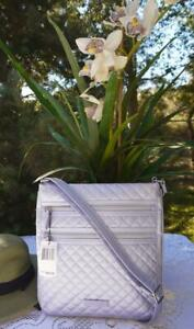NEW Vera Bradley Iconic Triple Zip Hipster Lavender Pearl Quilted Metallic $90