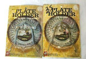 """Vintage Set of 2 Display Collector Art Plate Holders Springs Wall Hangers 7-10"""""""