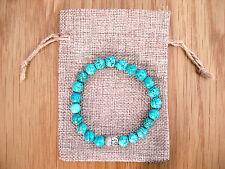 Silver Buddha Head, Turquoise Beaded Semi Precious Bracelet & Jute Gift Bag