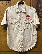 Vintage 1950 Lee Coca Cola Short Sleeve Beige Green Striped Hbt Sanforized Shirt
