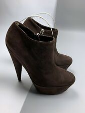Women's YVES SAINT LAURENT 'ALIAMA' Brown Suede Ankle Boots Heels Shoes Size 36