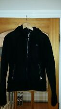BENCH BLACK WARM HOODED LINED ZIP JACKET TOP SZ L MILITARY  KNIT