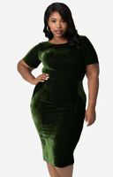 NWT Green Velvet Holiday Party Midi Pencil Dress Size 2X Plus Size