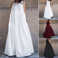 ZANZEA Womens Sleeveless Summer Beach Long Maxi Dress Plain Loose Dresses Plus