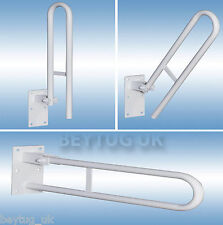 Tropik Home Folding Hinged Bathroom Safety Steel Rail Grab Bar Support Drop Down