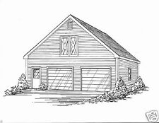 30 x 32 2 Car Front Gable Garage Building Plans with Walk Open Loft Area