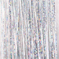 Women Silver Glitter Tinsel Laser Hair Extension Accessories 100 Pieces Hairline