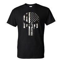 American Flag Punisher B&W Skull Men's T-Shirt Ready to ship!