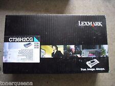 New Genuine Lexmark C736 X736 X738 High Yield Cyan Toner Cartridge C736H2CG