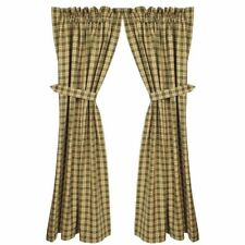 Country new NEW CASTLE green plaid lined window  curtain w/ tiebacks / Nice