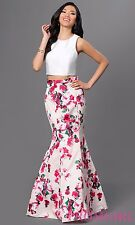 XSCAPE FLORAL SATIN TWO-PIECE MERMAID BALL-GOWN DRESS Size 0
