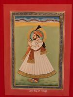 Hand Painted Rajasthani Maharajah King Portrait Miniature Painting India Art