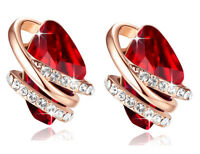 """Leafael """"Wish Stone"""" Swarovski Crystal 18K Rose Gold Plated Red Earrings"""