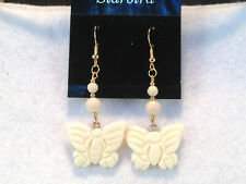 WHITE BONE DANGLE  BUTTERFLY EARRINGS  80'  VINTAGE