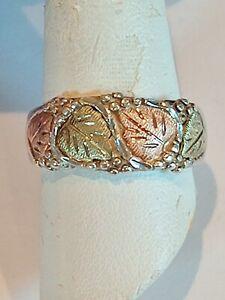 ESTATE MAN'S STERLING SILVER & 12K TRI COLOR GOLD RING LEAF LEAVES SZ 9.75