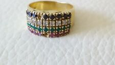 18k Yellow Gold Channel White Black Diamond Emerald Ruby Wide BAND Ring  8.5