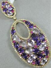 a4a97afc1f74 Moderno Diamante Amatista 14 Quilates Oro Amarillo Colgante Racimo Ovalado
