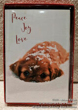 """New 18 Christmas Greeting Cards Puppy In Snow """"Peace Joy Love """" Great Dog Lovers"""