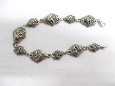 2 SIZE WOLF HEAD CHARMS - LINK CHAIN PEWTER CHARM BRACELET CUSTOM 9 OR 10 INCH