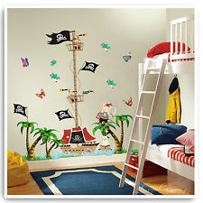 Pirate Ship Height Chart Wall Stickers Boat Jungle Tree Nursery Baby Room Decal