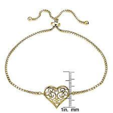 Gold Tone over Sterling Silver Filigree Heart Polished Adjustable Barcelet
