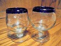 Set (2) Mexican Cobalt Blue Rim Hand Blown Stemware (1 Slightly Larger)      101