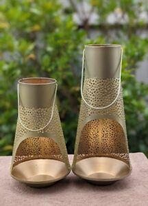 Decorative Lantern  Golden Finish Candle Holder Set Of 2 Lanterns