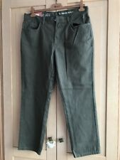 Mens Khaki Jeans Canvas Denim Trousers Straight Leg TU W36 L30