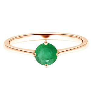 Prong Set 0.50 Cts Round Emerald Gemstone Solitaire Ring 9K Rose Gold US-5