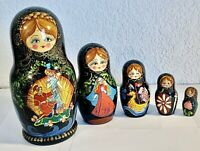 "VINTAGE SIGNED BLACK GOLD 5 RUSSIAN FAIRY TALE NESTING DOLLS 7""!!"