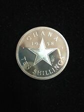 1958 Ghana 10 Shillings Proof Silver Star Large Coin