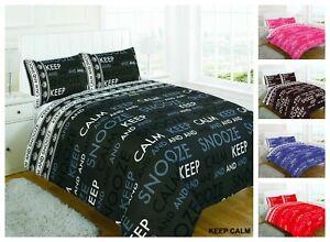 Designer Duvet Cover Keep Calm Quilt Set Pillow Case in Single Double Super King