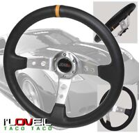 350mm Deep Dish Pvc Leather Steering Wheel Yellow Stitch For 350Z/370Z/G35/G37