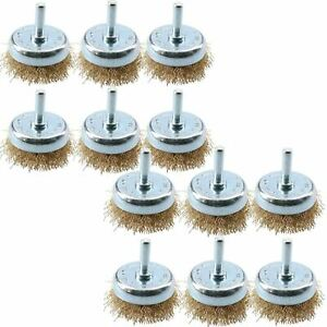50mm / 75mm Steel Wire Cup Brush For Drills Brass Coated Rust Paint Remover