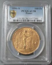 1886 A GOLD FRANCE 100 FRANCS STANDING GENIUS COIN PCGS ABOUT UNCIRCULATED 58