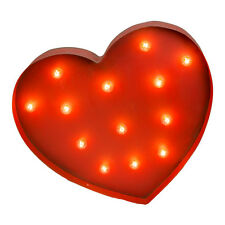 Fun LG Lighted Heart w Real Lightbulbs Metal Art Decor Valentine's Love Sexy Red